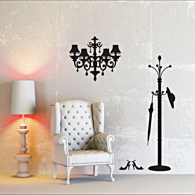 White chandelier wall decal