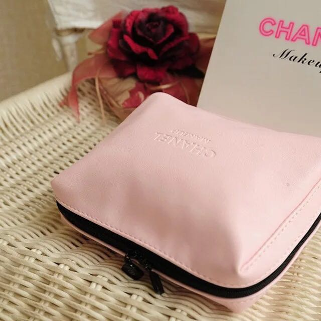 Pink chanel makeup bag