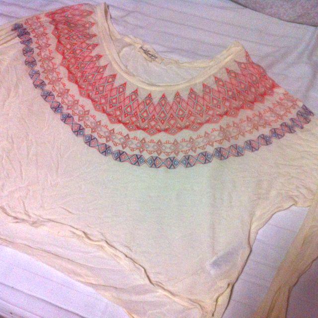 Aztec long sleeve crop top