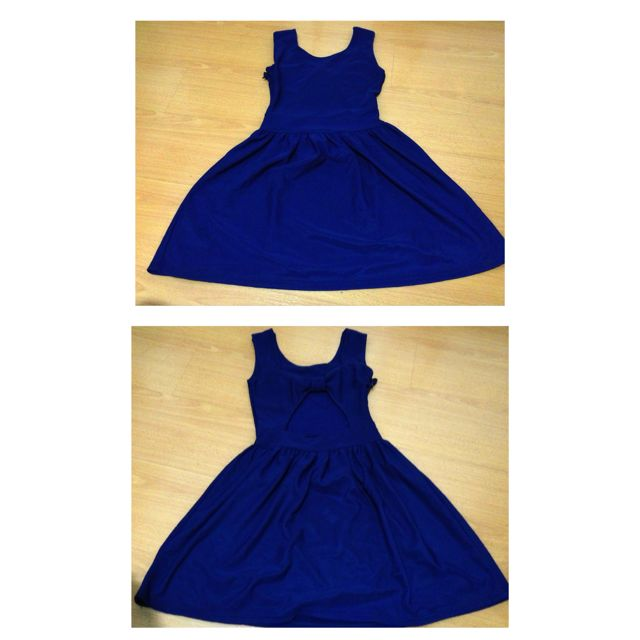 Blue ribbon cut out dress
