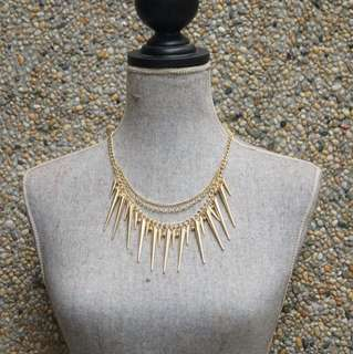 Gold Multi-chain Spiked Necklace