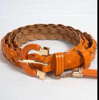 Hollyhoque Tassel Woven Leather Belt