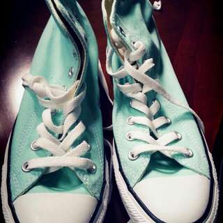 Authentic Turquoise converse shoes