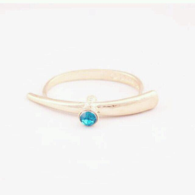 Turquoise & gold double anchor ring