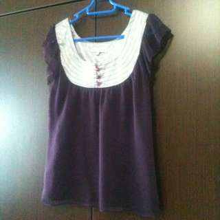 Purple Short-sleeve Blouse