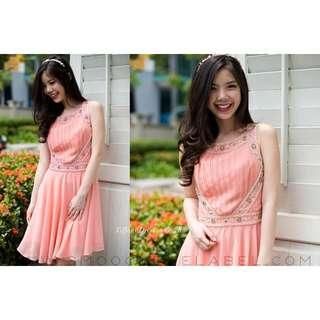 Smooch Tiffany Embellished Dress / Peach / Size S