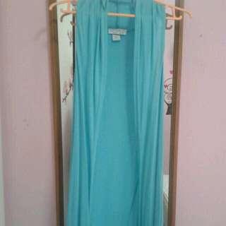 CO long turqoise sleeveless cardigan