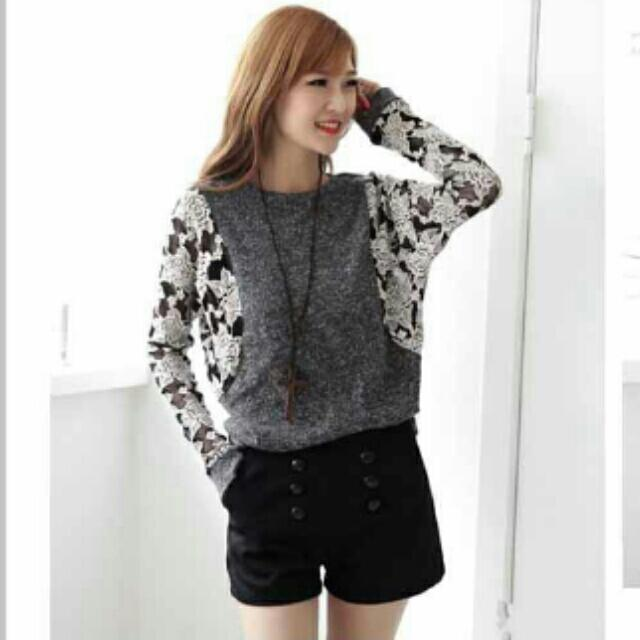 Dark Grey Lace Sleeves Pullover Sweater