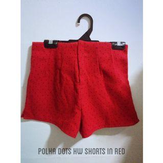 Polka Dots High Waist Shorts In Red