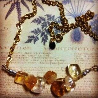 Citrine Stone Gold Chain Necklace
