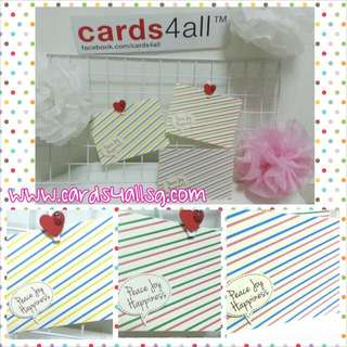 #cards4all Each Pack Consists Of 2 Designs,Shown In The Images Given. Materials: good grade art paper  Card size: slightly smaller than A6 insert: blank Comes with envelope.   Price: $9.50/packet (10+2 free)  Colour maybe varies due to screen
