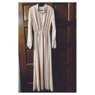 Nude Maxi Dress With Buttons