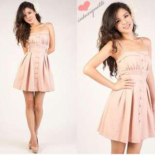 BUTTONED BLISSFULNESS SWIRL DRESS IN EXCLUSIVE PINK