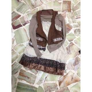 Brown Floral Lace Dress x Bow Vest