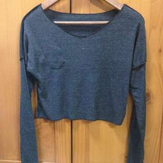 Crop Grey Pullover / Long Sleeve