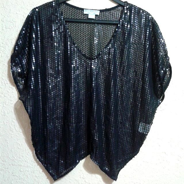 Black Sequins Chiffon Crop Top
