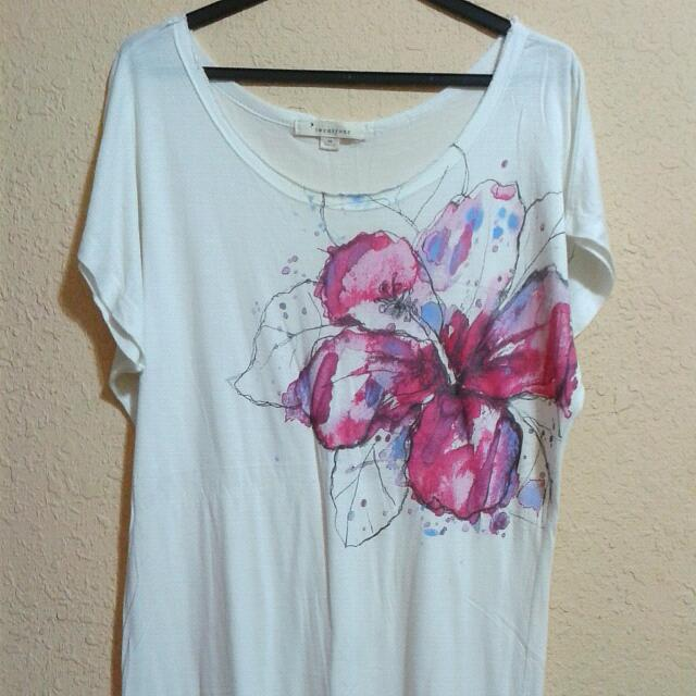 Loose White Flower Print Top