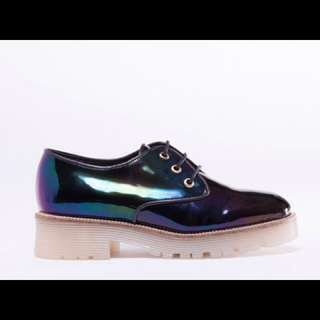 Solestruck To Be Announced Lacey Black Oil Slick Patent Petrol