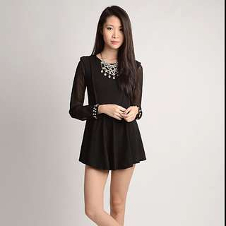 Embellished Cuffs Long Sleeve Black Dress (lacepipe)