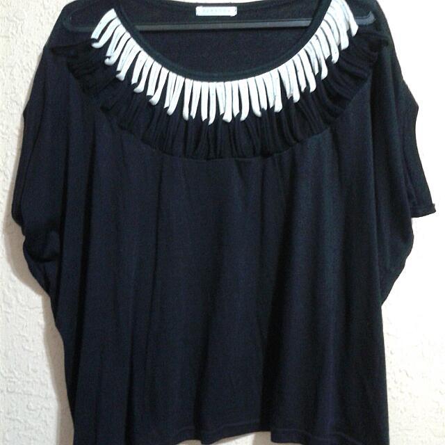 Black Oversized Top With Interlocking Pattern