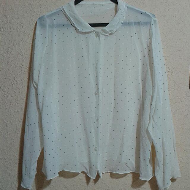 Vintage Unique Polka Dot Chiffon Shirt
