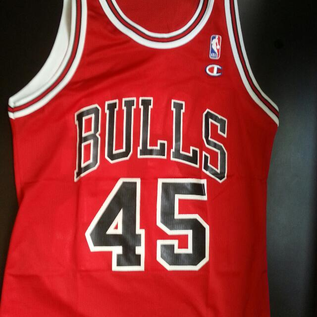 low cost 62dd1 6614c Vtg CHAMPION NBA JERSEY #45 MICHAEL JORDAN CHICAGO BULLS RED ...