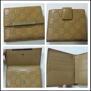 GUCCI Flap French Wallet with Gucci Trademark Engraved Metal Plate