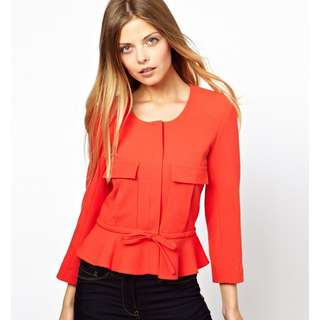 (BN) ASOS Jacket With Peplum And Pocket Detail In Red