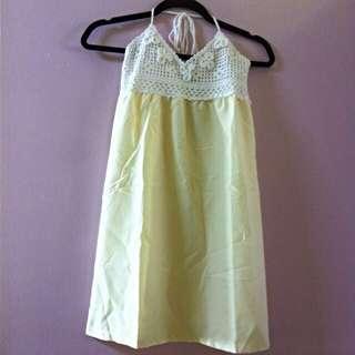 🆕 Yellow Crochet Bare Back Top