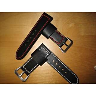 Black Leather 26mm Watch Straps