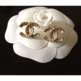 Brand New Gold Chanel Swarovski Crystal Earrings