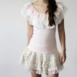 Lacy Pink Sweet Top / WH Lacy Skirt