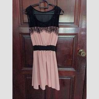Pink Black Lace Dress