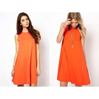 ASOS Sleeveless Swing Dress in Coral (SALE)