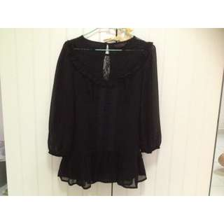 Miss Selfridge Black Lace Top M Size