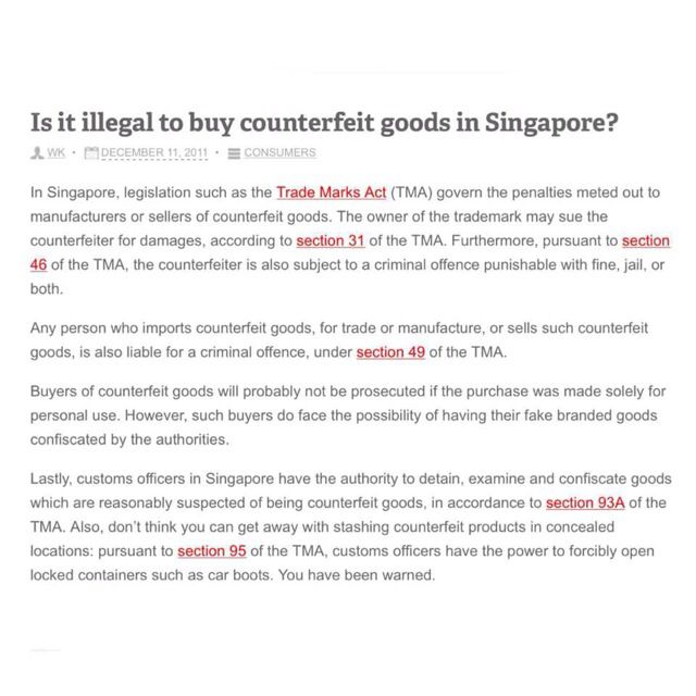 ILLEGAL to Buy Counterfeit Goods In Singapore, Luxury on