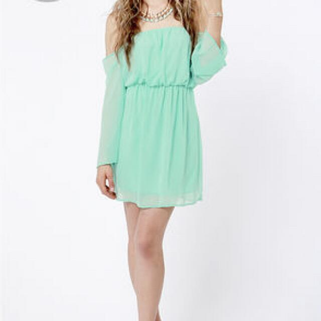 64eeb6ce7ea8 Pastel Green Off Shoulder Dress