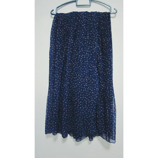 Blue Floral Midi Pleated Skirt