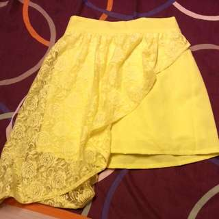 Yellow Neon Skirt W Side Floral