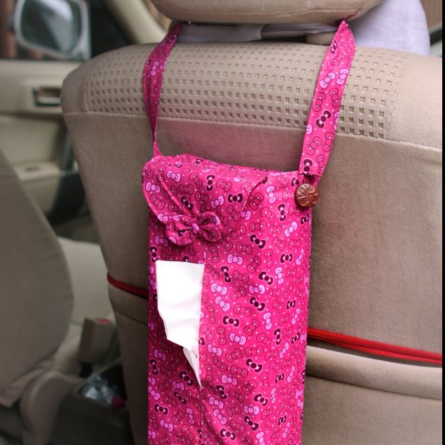 HANDMADE CAR MULTI PURPOSE TISSUE COVER - HK Ribbon Pink