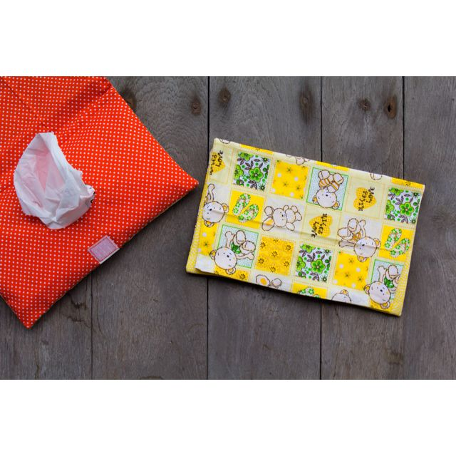 HANDMADE TISSUE POUCH - Bear Bunny Yellow