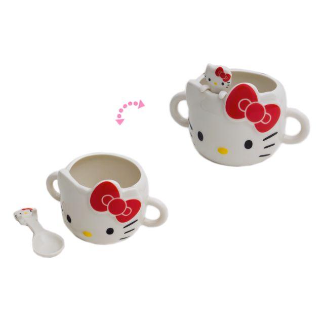 Hk Porcelain mug + spoon - dcut red