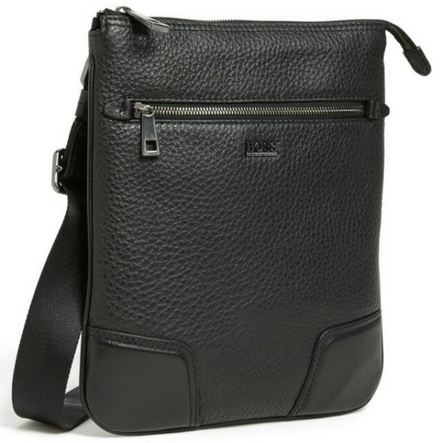 e7b36aae69a Hugo Boss 'Brintico' Leather Messenger Bag, Black, Men's Fashion on ...