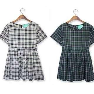 GREY CHECKERED BABYDOLL DRESS (INSTOCK)
