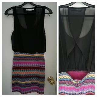 """Aztec""-like Printed Bodycon Dress"