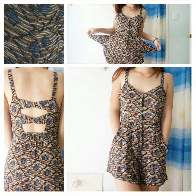 "Criss-cross Open Back ""Aztec"" Printed Playsuit/Romper"