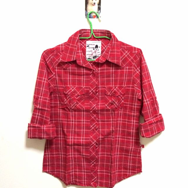 red checkered long sleeved polo