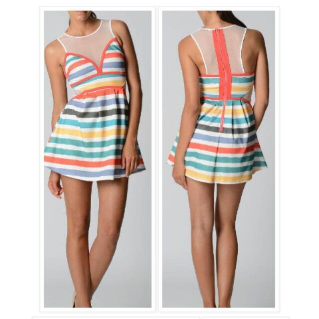 Mesh Cut Out Rainbow Babydoll Dress