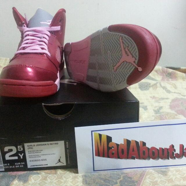 pretty nice e9673 f89a7 Nike Air Jordan 5 V Retro GS Valentines Day 2.5Y Girls Shoes ...