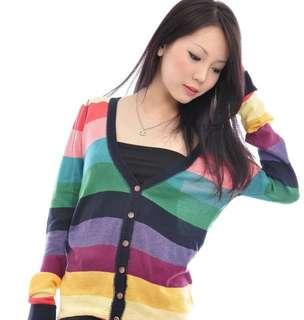 Lovelyspree Rainbow Knitted Cardigan